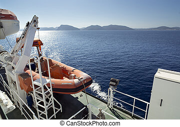 ferry lifeboat - lifeboat on a ferry in the mediterranean