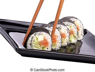 Sushi, -, rollo, palillos, aislado