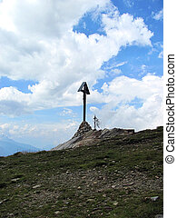 Two Crosses on the Summit - Alps - Two Christian Crosses at...