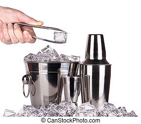 bar accessories with ice isolated