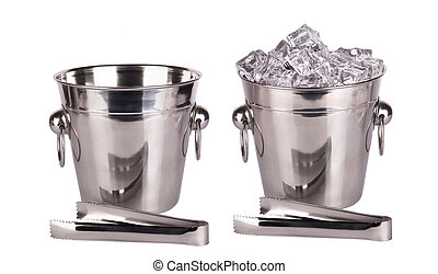 full and empty ice bucket with Ice tongs isolated on a white...