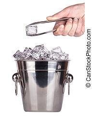 ice bucket with hand holding Ice tongs - ice bucket isolated...