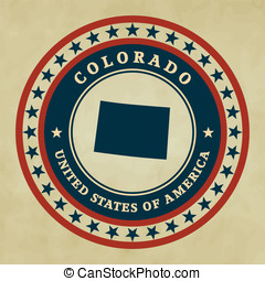 Vintage label Colorado - Vintage label with map of Colorado,...