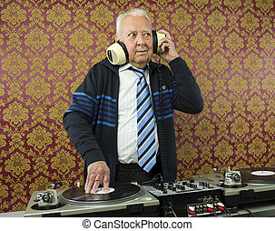 grandpa dj - a very funky elderly grandpa dj mixing records