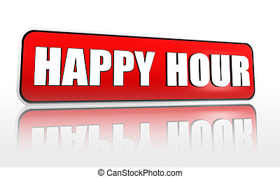 happy hour in red banner