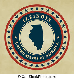 Vintage label Illinois - Vintage label with map of Illinois,...