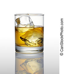 whisky on ice, white background with reflection