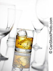 whisky on ice, shallow depth of field