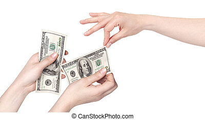 Hand giving money to other hand isolated on white background...