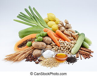 Vegetable and fruits - shot of fresh vegetables, fruits and...