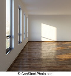 Empty Living Room With Laminate Flooring