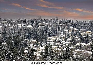 Winter Scene in Suburbs Neighborhhood at Sunset