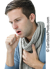 young manl having a cold - portrait of an young man coughing...