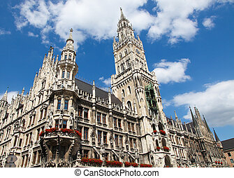 Munich - Neues Rathaus, the new town hall, on the...
