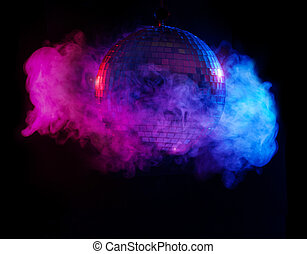 Party lights disco ball in smoke