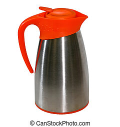 Flagon isolated - One metallic flagon with plastic handle...