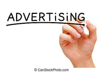 Advertising Concept - Hand writing Advertising with black...