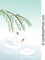 Two swans floating on water illustration.