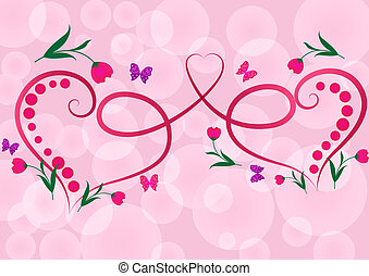 Two red floral hearts pink vector background.