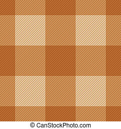 Seamless classic brown plaid checkered cloth vector pattern.