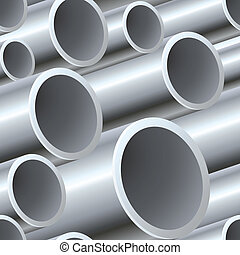 3D seamless steel pipes pattern vector illustration