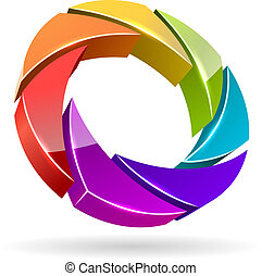 ?olorful photo shutter 3D icon. - Abstract colorful photo...