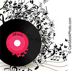 Abstract music background with viny