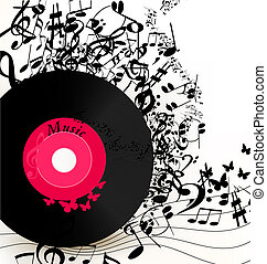 Abstract music background with vinyl record and notes - Cute...