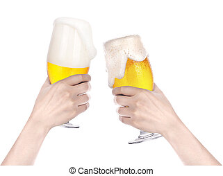beer with hand making toast