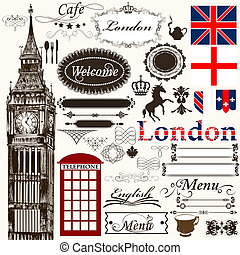 Calligraphic design elements and page decorations London...