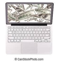 Laptop making money concept isolated on a white background