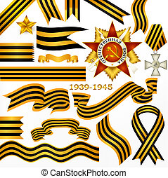 Vector set of stripped ribbons symbol of win of second world...