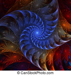 Layered Spiral Abstract - Layered, rainbow colored,...
