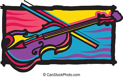 Multi Color Fiddle Design - Vector Fiddle, colored,...
