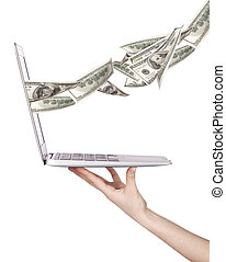 Laptop making money concept isolated