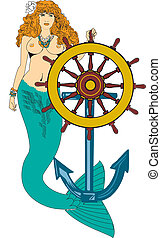 Mermaid and ships wheel - Hand drawn mermaid, great body,...