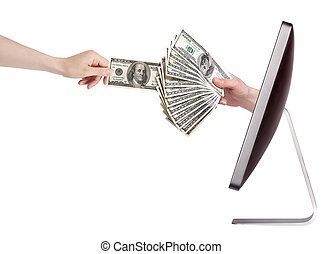 computer making money concept isolated with woman hand