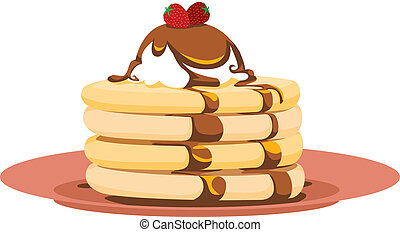 Strawberry Pancake Illustration - Breakfast icon of a...