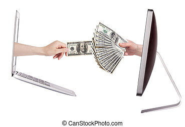 computer and laptop - making money concept isolated with...