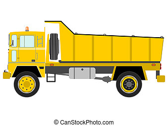 Tipper truck - Heavy yellow tipper truck on a white...