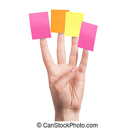primary goals planning strategy concept - womans finger with...