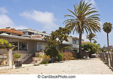 Residential houses near the beach Point Loma California. -...