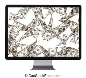 lot of money on a pc screen with woman hands isolated on a...