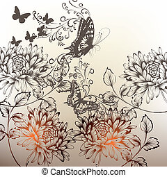 Floral hand drawn background with o - Elegant hand drawn...
