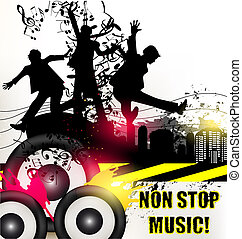 Cute music background with young jumping and happy people...