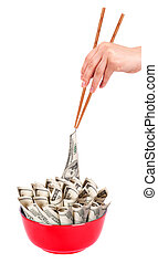 Concept image of food money - red plate full of money and...