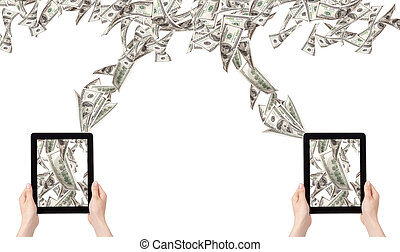 making money with computer concept - Money pouring out from...