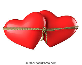 Hearts Bound Together - Two hearts connected by a rope with...