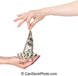 female hands with money isolated on a white