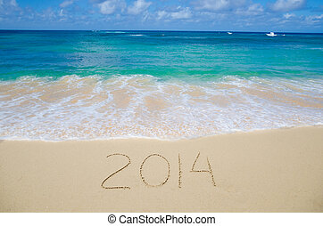 Number 2014 on the beach